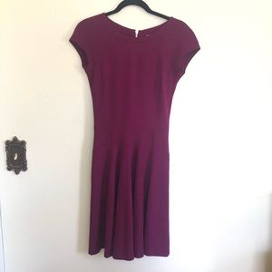 Cache Fit and Flare Cap Sleeve Berry Purple Dress